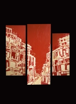 Trip in Marseille / Marseille view / Tryptic Acrylic on wood / 2012