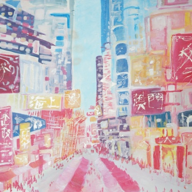 HK street / Acrylic on wood / 2010