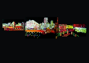 Les Catalans / Marseille view / Tryptic Acrylic on wood / 2012
