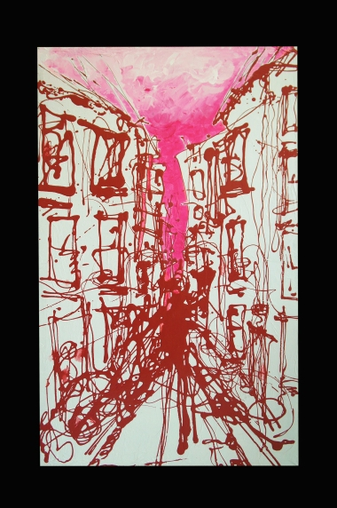 Visite in MArseile / Acrylique on silk paper and wood / 2012