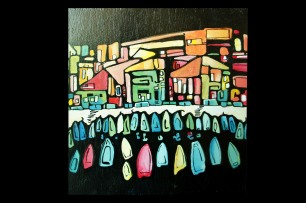 Vallons des Auffes / Marseille view / Acrylic paint on wood / 2012