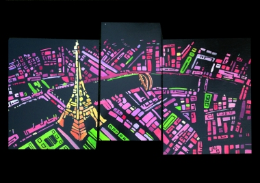 Paris 2013, Tryptique, Acrylique clear varnish on wood