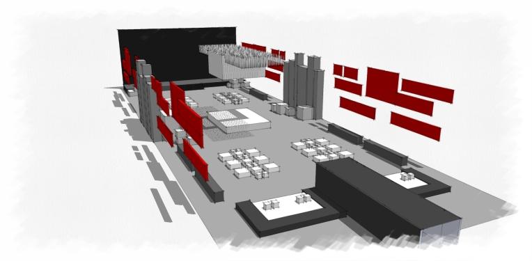 Huawei Barcelona Gala show, Uniplan HK 2013, 3 D rendering