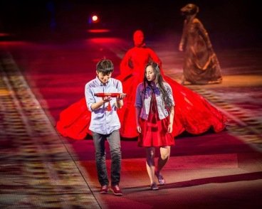 Scrolls . Fabric and paper . Han Show Wuhan 2014